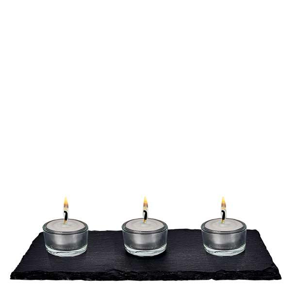 Lichtset Schiefer: Platte + 6x WECK Teelicht-Glas